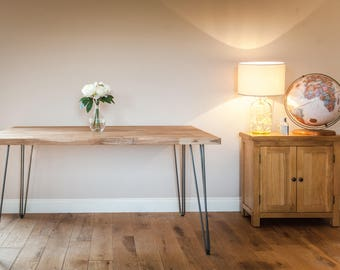 4-6 Person Solid Oak Hairpin Dining Table
