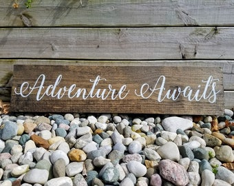 Adventure Awaits Sign, Wooden Signs, Adventure Sign, Home Decor, Adventure Awaits, Wanderlust Sign, Adventure Wood Sign, Adventure Decor