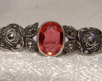 Art Deco Garnet Roses 935 Sterling Silver Marcasites Collar Brooch Pin 1930s
