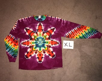Tie Dye T-Shirt ~ Fire Mandala With Raspberry Background ~ i_8901 in Long Sleeve Adult XL