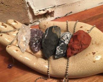 Raw Crystal Pendulums; Sodalite, Clear Quartz, Red Jasper, Amethyst and Sardonyx