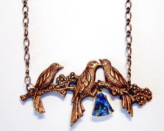 Wonderful Brass LoveBirds Flowers Blue Triangle Glass Stone Necklace