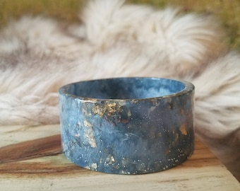 Steel Blue Resin Cuff Bangle