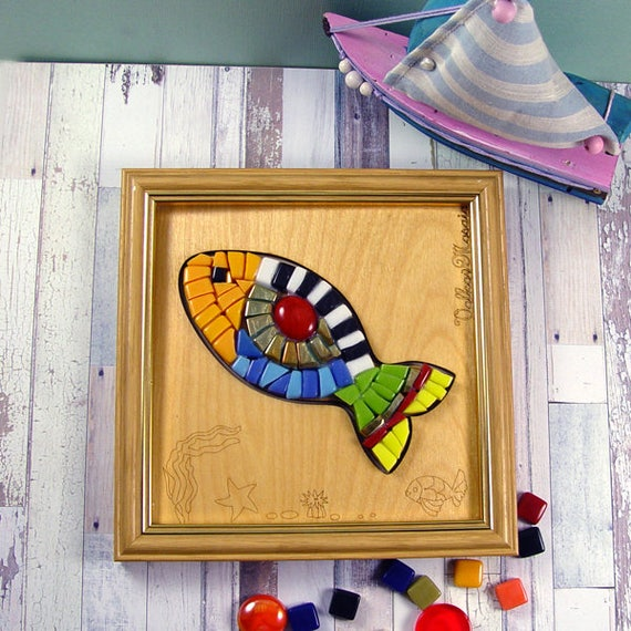 DIY Kit mosaic Fish/Kits for kids/Make your Fish/Glass