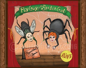 Fly Guy and Spider Gal Together Again Print