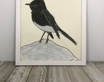 Bird Charcoal Drawing, Original Art 8x10, Bird Art, Wall Art