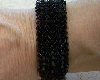 Black Swarovski Crystal Beaded Cuff Bracelet by Carol Wilson of Je t'adorn