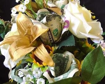 Money Bouquet - 12 Dollar Bills = 6 Money Roses + 6 Artificial Flowers (Graduation / Prom)