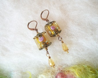 Small Earrings Dainty Lamp Work Bead Earrings Beaded Boho Dangle Earrings Vintage Inspired Bronze Copper Filigree Bead Caps Wedding Jewelry