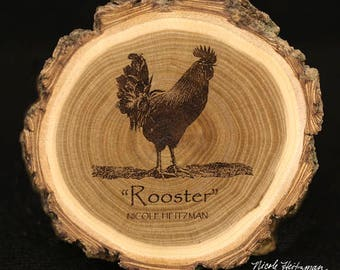 Chicken Art Rooster Coaster Mother's Day Gift for Mom her Chicken Art Wood Coaster Country decor Farm Decor Wood Coasters by Nicole Heitzman
