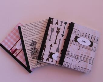 Altered Mini Composition Notebooks, Set of 4, Mini Composition Notebooks, Hostess Gifts, Co-worker gifts