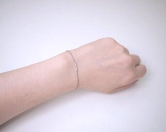 Tiny Sterling Silver Beads Silk Cord Bracelet