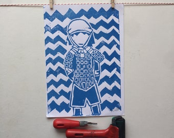 A4 Linocut Print, Soldier, Military, Home Decor, Art