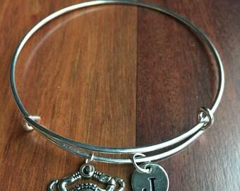 KIDS SIZE - Crab Initial Bracelet, Silver Crab, Maryland crab Bracelet, Crab Charm Bracelet, Nautical Jewelry, Sea Animal Nautical Bangle
