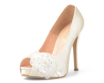 Lorraine Ivory Lace Bridal Heels, White Satin Heels with Floral Lace, Ivory White Wedding Heels, Ivory Lace Bridal Heels with Crystal