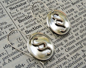 Section Sign Earrings, Sterling Silver Nerd Jewelry, Language Arts English Teacher Gift, Legal Code Squiggly Typography Punctuation Geek