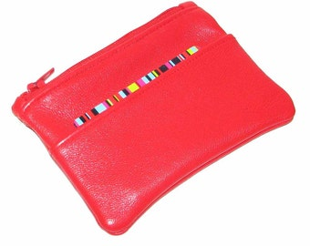 Red Lambskin Small Zipper Wallet with Card Pocket Handmade
