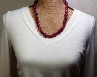 Large Genuine Real Earth Mined 347.00 Carats of Quality Brazilian Red Ruby Gemstones Necklace