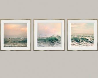 Large wall art set Ocean prints Set of 3 prins surf art Coastal decor Sea Waves photography set of art prints Large prints set 3 11x14 12x12