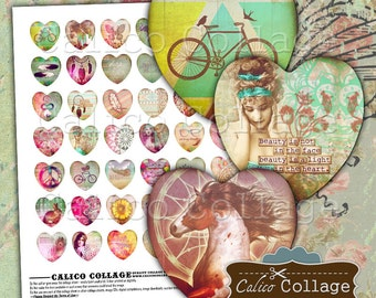Boho Chic, Heart Collage Sheet, 25mm Heart Images, 1 Inch Hearts, Collage Sheet, Printable Download, Images for Pendants, Craft Sheet