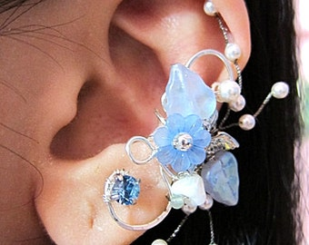 Blue Ear Cuff - Flower Ear Cuff - Nature Ear Cuff - Elegant Ear Cuff - Wedding Ear Cuff - Bridal Ear Cuff - Nature Earrings - Woodland