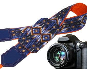 Indian camera strap with pocket. Ethnic Camera strap. Inspired by Native Americans camera strap. Yellow. Blue. Bright. Holiday gifts.