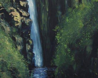 Jungle Cliff Waterfall, Original Oil on Canvas