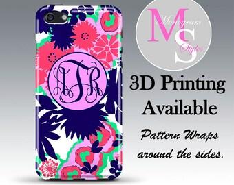 Monogram iPhone 6S Case Personalized Phone Case Pink Floral Monogrammed iPhone 4, 4S, Iphone 5C, iPhone 5 5S, iPhone 6 Plus Tough Case #2030