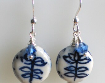 China Blossom Blue and White Porcelain earrings