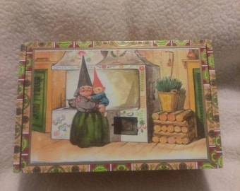 Hinged Box featuring Gnome Mother with Child in Kitchen