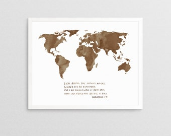 Habakkuk 1:5 World Map | watercolor bible verse christian world missions quote map