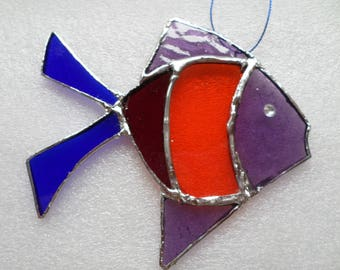Stained glass rainbow fish