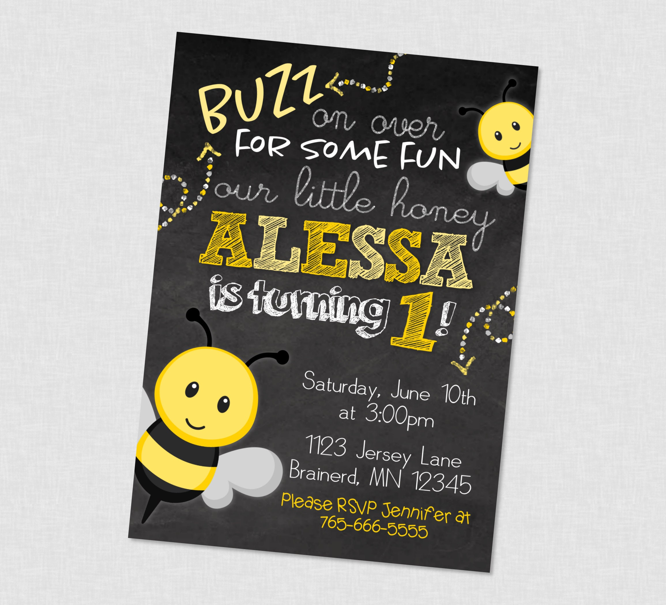 Bee buzz on over chalkboard birthday invitation bee birthday 1299 filmwisefo