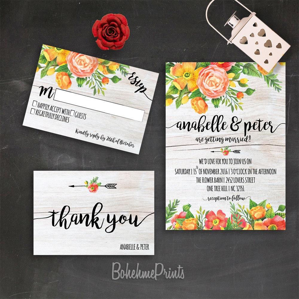 Rustic Wedding Invitation Orange Wedding Invitation Printable