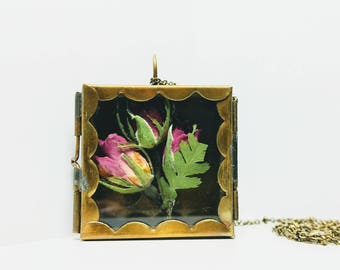 Shadow box necklace,bridal jewelry, boho pendant,Handmade necklace,brass shadow box necklace,wearable shadowbox