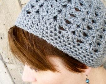 Women's Crochet Hat - Crochet Shell Beanie - Women's Beanie - Crochet Cancer Hat - Plain Simple Crochet Hat - Crochet Flapper - Heather Grey