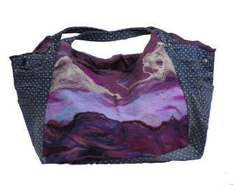 Handmade Purse with Felted Design on Front and Back