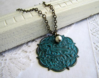 Bird Necklace Verdigris Necklace Patina Necklace Charm Pearl Necklace Nature Jewelry Rustic Jewelry Long Necklace Nature Inspired Jewelry