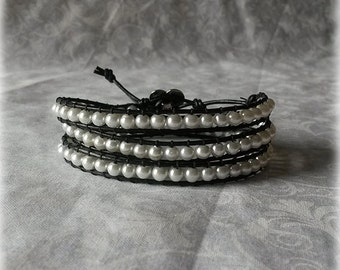 Pearl Wrap Bracelet - White Pearls with Black Leather