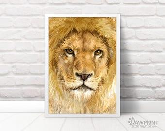Lion Painting Art Print - Lion Boyfriend Gift For Him, Lion Art Safari Nursery Art Print, Nursery Lion Art  Lion Nursery Safari Decor,