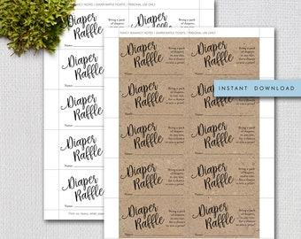 Printable Diaper Raffle Tickets, Script Diaper Raffle Ticket, White and Kraft Instant Download