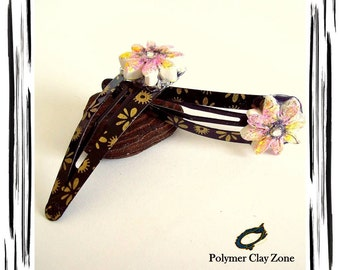 Floral Hair Clip | Polymer Clay HairClips | Black |Gold | Pink | Yellow| Metal Clip |  Handmade | Unique OOAK | Hair Accessories  |  Jewelry