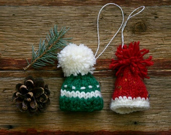 Red Green Miniature Hat Ornaments- Two Hand Knit Hats- Tiny Knitted Caps- Christmas Holiday Decor- Doll Hat