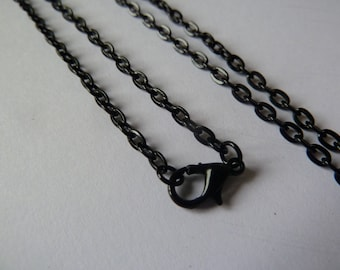 10 x Black Rolo chain with lobster clasp - 60 cm length