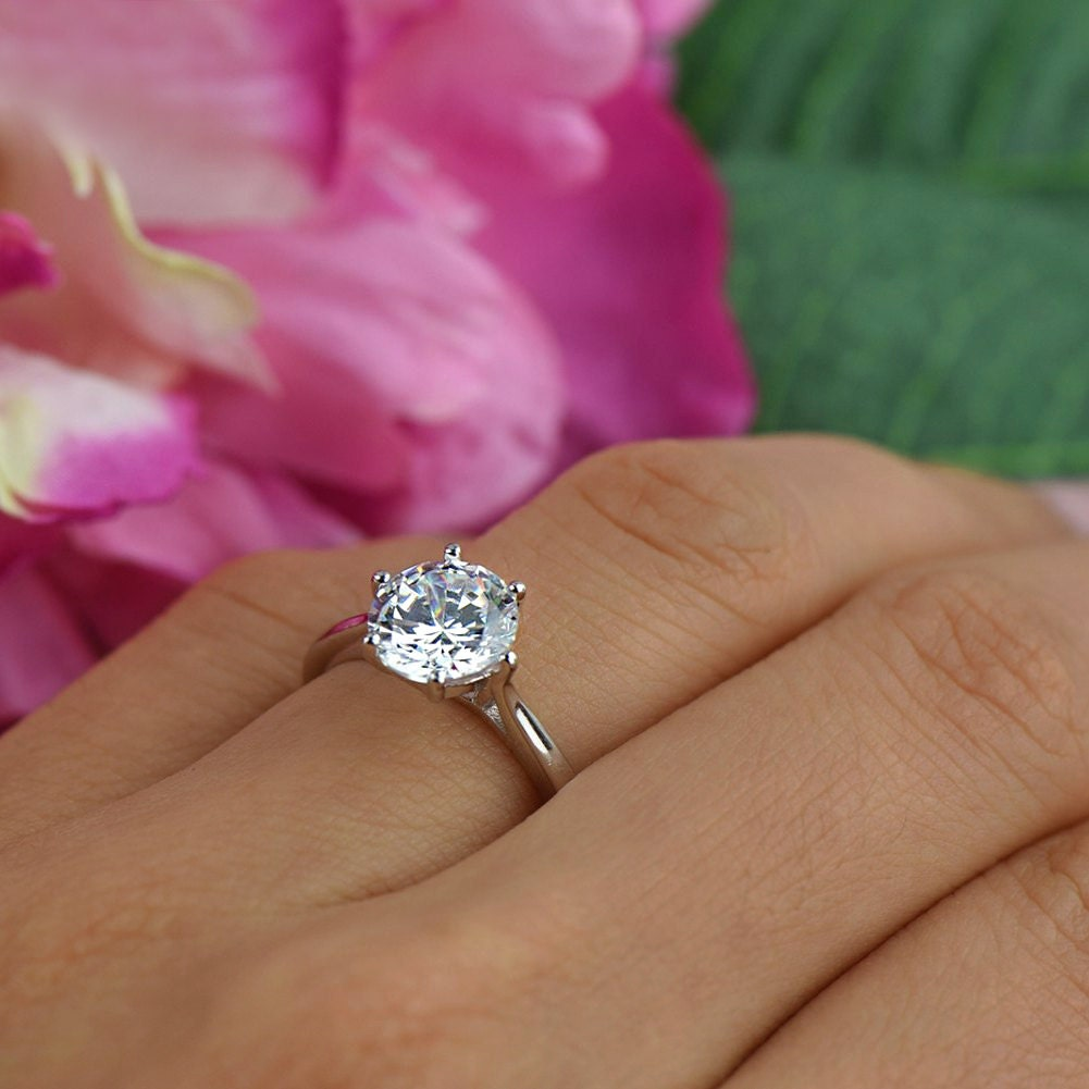2 ct Classic Solitaire Engagement Ring Low Profile Ring Man