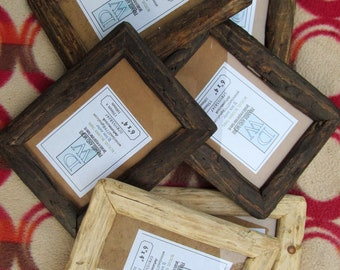 "Rustic/driftwood style frames in recycled pine in clear beeswax, medium dark or very dark wax finish.To fit 6""x4"" FREE U.K. shipping"