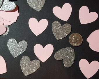 Pink and Silver Confetti-Table Scatter Heart Confetti- Bridal Shower Decor- Baby Shower Decor- Wedding Decor- Pink and Silver Wedding Decor