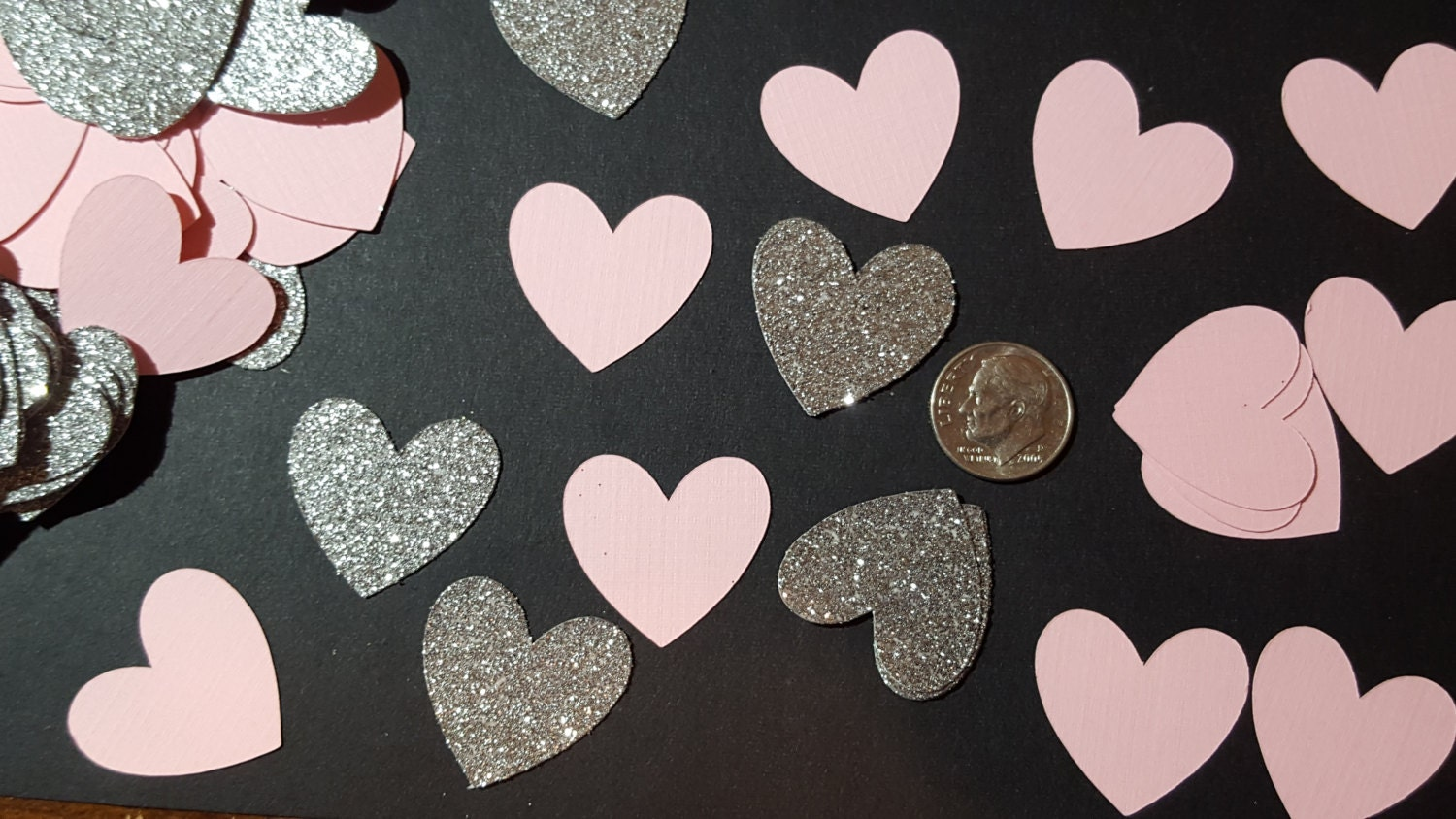 Pink And Silver Confetti Table Scatter Heart Confetti Bridal Shower