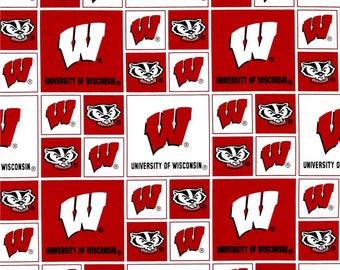 University of Wisconsin Badgers fabric, University of Wisconsin fabric, badger fabric, Wisconsin badger fabric