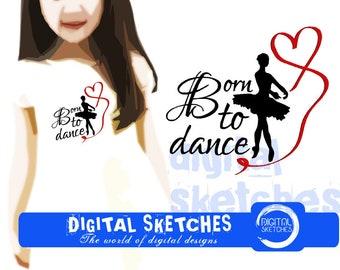 Born To Dance Machine Embroidery Design 3 Sizes